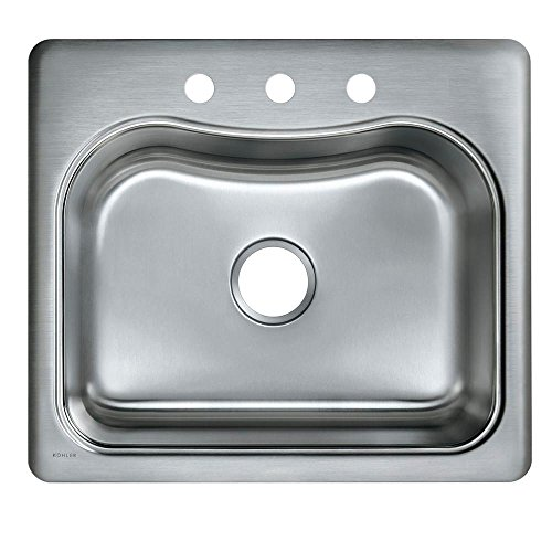 KOHLER K-3362-3-NA Staccato Single-Basin Self-Rimming Kitchen Sink, Stainless Steel