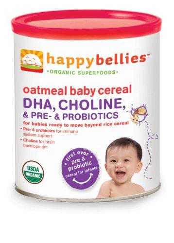 Happy Bellies Céréales Bio Bébé avec DHA Pre Plus et probiotiques, avoine, 7-Ounce Canisters (Pack de 6)