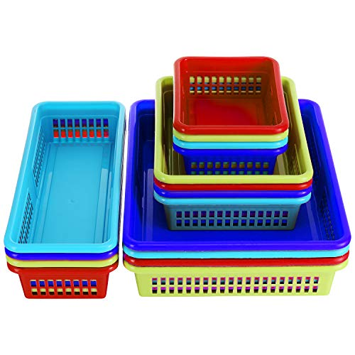 (Bright Plastic Organizer Bins - 16 Pack - Colorful Storage Trays, Modular Baskets Holders for Classroom, Drawers, Shelves, Desktop, Closet, Playroom, Office, and More - 4 Bright Colors - BPA Free)