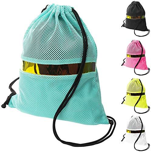GLOWPOKE Fishnet Drawstring Backpack Gym Bag - Aqua Blue 13 x 15 Gymsack - Lightweight and Breathable with Privacy Lining - Perfect for Festival, Concert, Beach and Travel - Handmade Quality]()