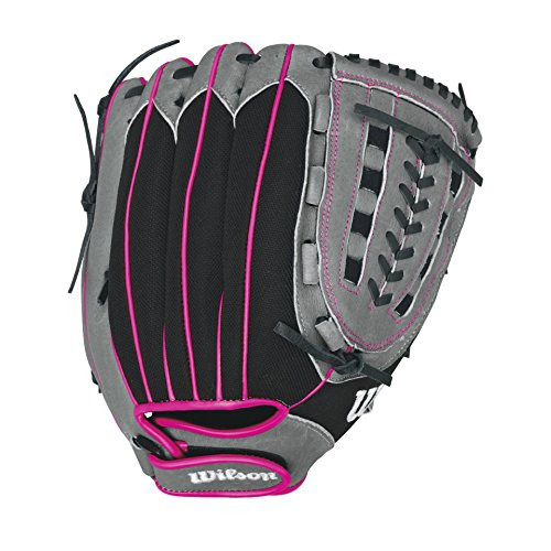 "Wilson Flash Baseball Gloves, Black/Hot Pink, 11.5"", Right Hand Throw"