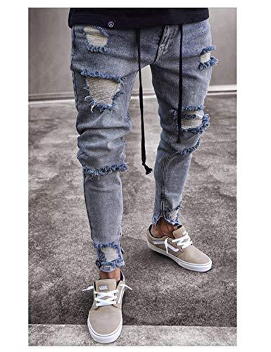 Attillati Risvolto Jeans Pantaloni Slim Vintage Skinny Strappati Casual Uomo Fit Con Colour Da Moda Denim BqdHzdw