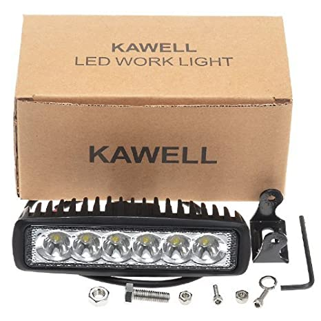 KAWELL Slim 2 Pack 18W Off Road Led Work Light Bar 6.2 Inches 6500K LED Flood Light Bar for ATV SUV Jeep Boat Truck White