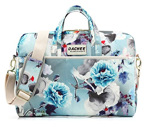 DACHEE Blue Flowers Pattern 15 inch Waterproof Laptop Shoulder Messenger Bag for 14 Inch to15.6 inch Laptop and MacBook Pro 15 Laptop Case ()