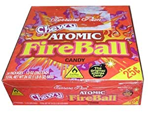 Ferrara Pan Chewy Atomic Fireball Candy 24 Cout Box