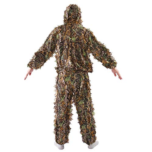 (EnjoyShop New Durable Leaf Ghillie Suit Woodland Camo Camouflage Clothing 3D Jungle Hunting M/L Shooting, Wildfowling, Stalking, Paintball, Airsoft, Surveillance)