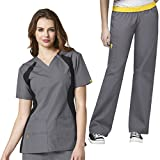 WonderWink Women's Scrub Panel V-Neck Top & Elastic Waistband Pant Set + FREE GIFT
