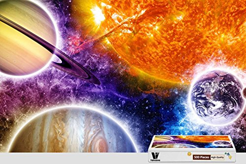 PigBangbang,20.6 X 15.1 Inch,Premium Wooden Unique Present To Family Nice Mural Poster - Space Colorful Planets - 300 Piece Jigsaw Puzzle for $<!--$29.98-->