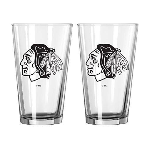 Blackhawks Glass Chicago - Boelter Brands NHL Chicago Blackhawks Game Day Pint, 16-Ounce, 2-Pack