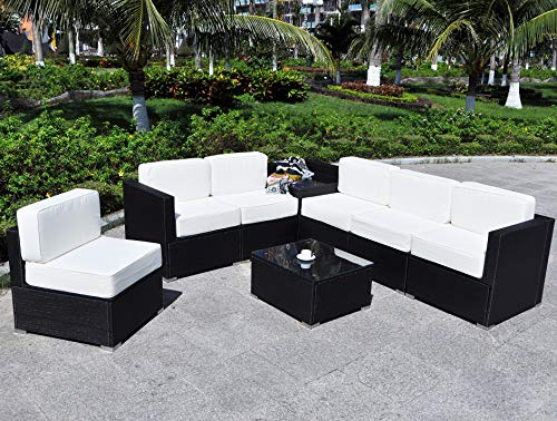 Mcombo Patio Furniture Sectional Set Outdoor Wicker Sofa Lawn Rattan Conversation Chair with 6 Inch Cushions and Tea Table(Cream White) 6082-8PC (Craigslist Patio)