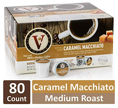 Caramel Macchiato for K-Cup Keurig 2.0 Brewers, 80 Count, Victor Allen's Coffee Medium Roast Single Serve Coffee Pods
