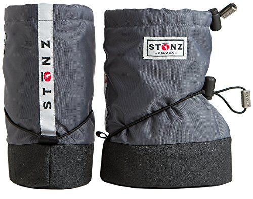 Stonz Three Season STAY-On Baby Booties, For Bare Feet or Shoes, For Mild or Cold Snow Weather, Grey Small