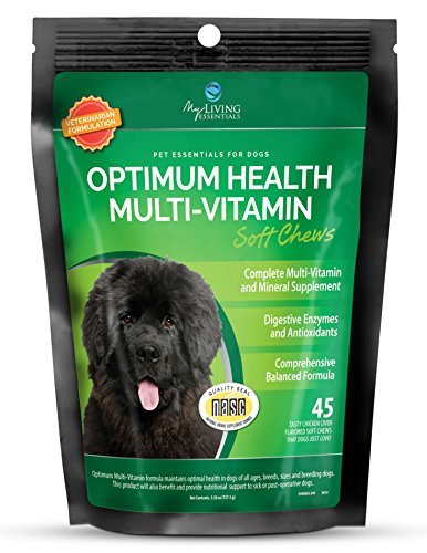 My Living Essentials Multivitamin and Mineral Supplement for Dogs - Digestive Enzymes and Antioxidants - 45 Chicken Liver Chews