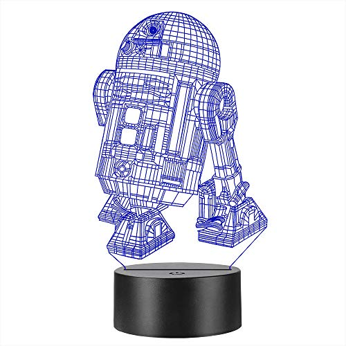 Gaopin Robot Starwars R2D2 3D Lamp Multicolor Night Light Kid Toy Home Bedroom Table Desk Party Deocrative (R2D2 Option 1) ()