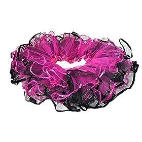 - 51myyK2E4hL - Fuschia/Black Tulle Tutu w/Sequin Trim 4 layers