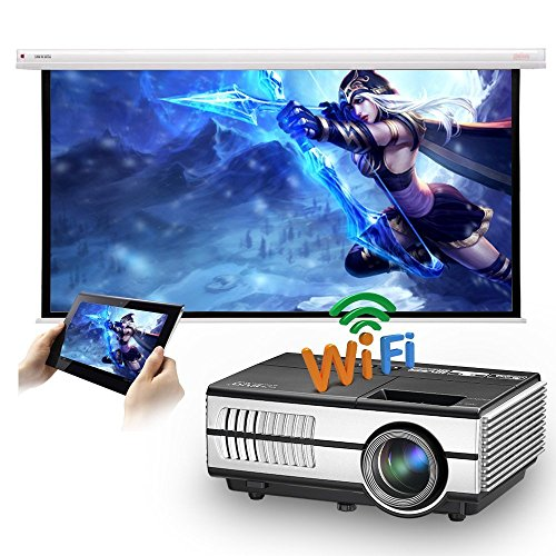 TFT LCD 1500 Lumens Wifi Projector Home Cinema LED 1080P Indoor Outdoor Wireless Android Projector with HDMI USB VGA AV 3.5mm Headphone Jack for DVD Roku Laptop iPhone Smartphone Netflix YouTube Kodi