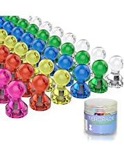 Tiergrade Push Pin Magnets, Fridge Magnets, 60 Pack 7 Assorted Color Strong Magnets, Use at Home School Classroom and Office Magnets, Magnets for Refrigerator Dry Erase Board and Whiteboard Magnets