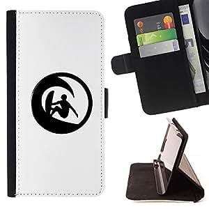 Momo Phone Case / Flip Funda de Cuero Case Cover - Minimalista Wave Surfer;;;;;;;; - Samsung Galaxy J1 J100
