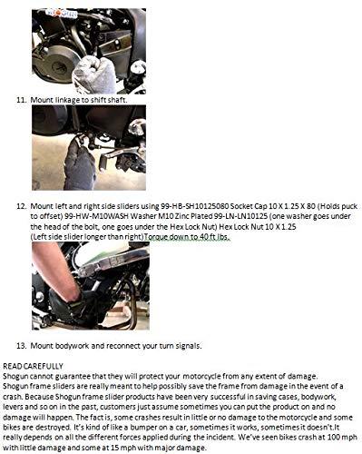Shogun 2008-2012 Kawasaki Ninja 250R Black No Cut Frame Sliders 750-4119 MADE IN THE USA