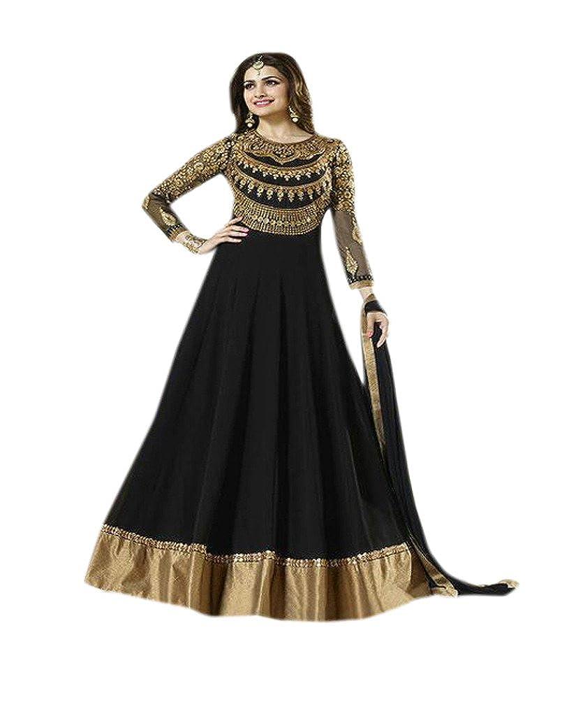 Shoppingover bodenlanger Anarkali, pakistanischer Salwar Kameez in schwarzer Farbe