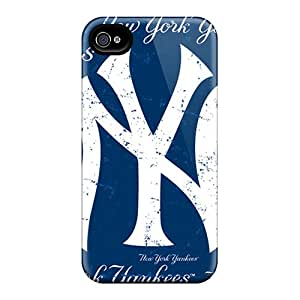 High Quality Hard Phone Covers For Iphone 4/4s (CbV15669BqYX) Unique Design High Resolution New York Yankees Skin