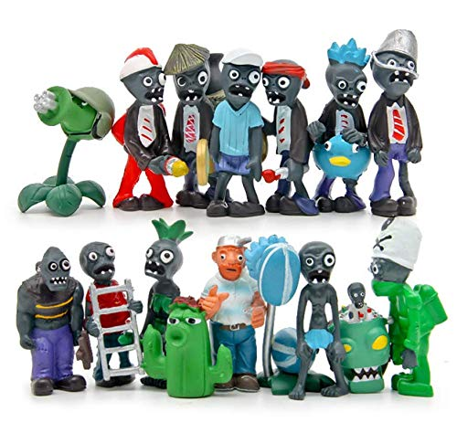Astra Gourmet Plants vs Zombies Figure PVC Toys, 16 Piece Display Toy Cake Toppers Cupcake Decorations Party Favors(Plants vs Zombies)