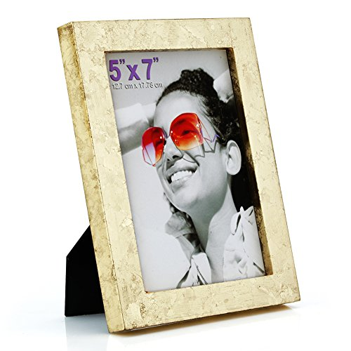 RPJC 5x7 Picture Frames Made of Solid Wood High Definition Glass for Table Top Display and Wall mounting Photo Frame Gold ()