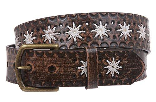 Snap on Flower Embossing Vintage Leather Belt Size: M/L - 36 Color ()
