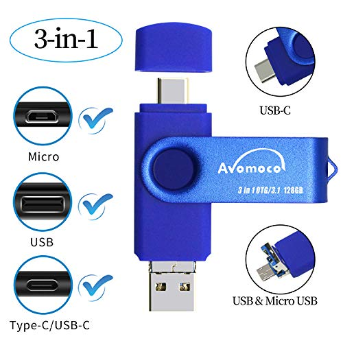 Avomoco 3.1 128GB 3 in 1 High Speed Flash Drive for Android Phones Type C/USB C Devices,Tablets .Photo Stick for Samsung Galaxy,LG,Google Pixel,Hua Wei.(for Micro &USB C Ports,Not for iPhone)
