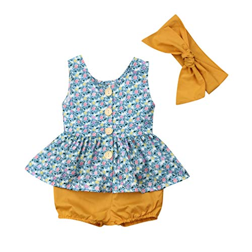 (Newborn Infant Baby Girls Clothes Floral Print Romper Vintage Ruffles Dress+Pants Set Outfit with Headband Blue-Yellow)