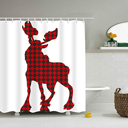 Shower Curtain Red Deer Extra Long Bath Decorations Bathroom Decor Sets Marriage Gifts for Men and Women