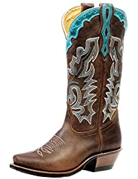 Boulet Western Boots Womens Cutter Rider Leather Selvaggio Wood 4361