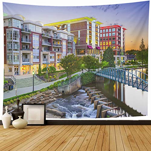 Ahawoso Tapestry Wall Hanging 90x60 Falls Skyline Greenville South Carolina Town Cityscape Parks USA Downtown America City Dusk Design Home Decor Tapestries Decorative Bedroom Living Room Dorm -