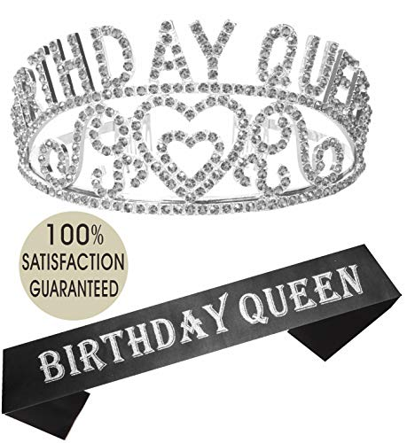 Birthday Girl Sash and Tiara Silver | Birthday Queen Sash and Crown | Happy Birthday Party Supplies| Favors, Decorations 13th, 16th, 21st, 30th, 40th, 50th, 60th, 70th, 80th, 90th Birthday ()