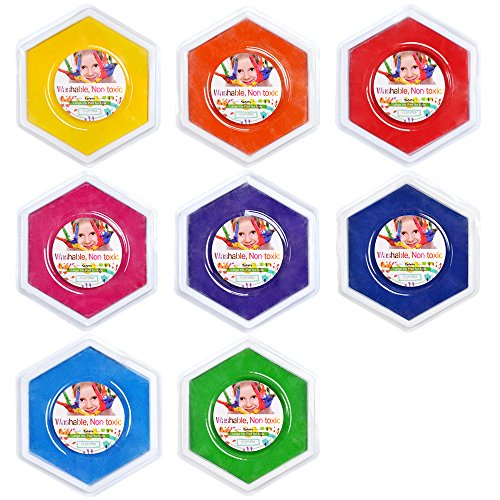 GooMart 8 Colors Newly Designed Washable Hexagon Large Ink p
