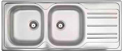 Lavello Cucina 2 Vasche con Gocciolatoio Dx L 116 cm ...