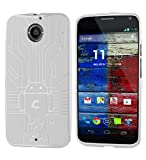Moto X Case, Cruzerlite Bugdroid Circuit TPU Case Compatible for the All New Motorola Moto X (2nd Generation) - White