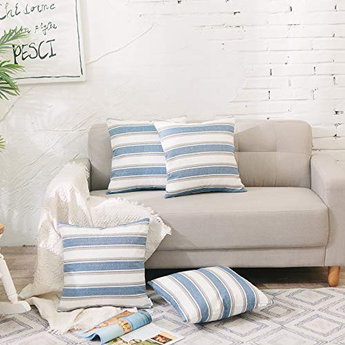 (NATUS WEAVER Navy White Stripe Pillow Case Soft Linen Square Decorative Throw Cushion Cover Pillowcase with Invisible Zipper for Bed 18