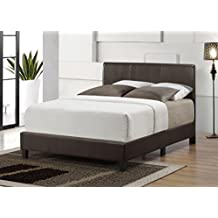 Luca Platform Bed with Faux Leather Headboard/Footboard and Rails, (Queen)