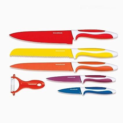 Appetitissime Swiss Q Cuchillos con Revestimiento, Acero Inoxidable, 37,5 x 3,5 x 25 cm, 6 Unidades