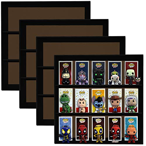 4 Pack, Display Geek Stackable Toy Shelves for 4 in. Vinyl Collectible Figures, Black Corrugated Cardboard