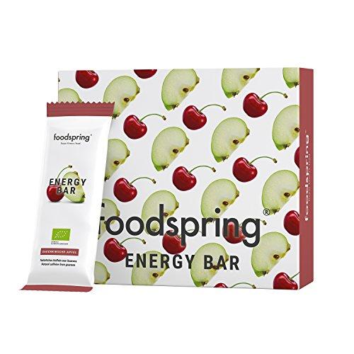 foodspring Energy Bar, Sauerkirsche-Apfel, 12er-Paket, 12x35g, Koffein zum Kauen, Snack dich wach, 100% Bio-Qualität