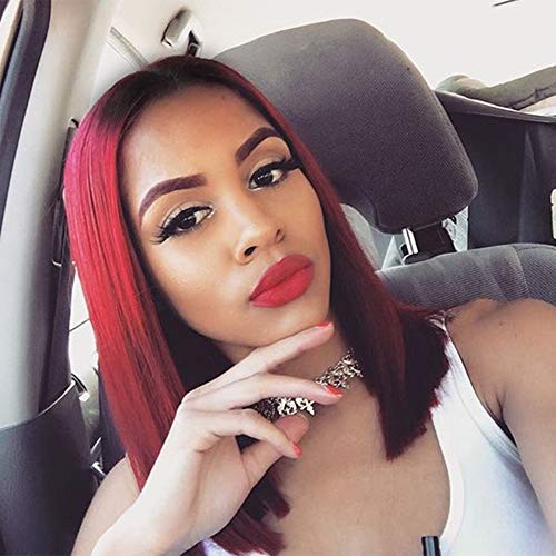 HAIRCUBE Ombre Burgundy Lace Front Wigs 14 Inch Straight Middle Part Burgundy with Black Root Bob Wig with Deep Part Heat Resistant