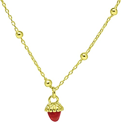 Honeybee and gold strawberry Necklace