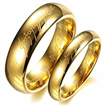 "LALOPEZ Men/womens Titanium Stainless Steel""Lords of the Rings""Smooth Gold Couple Band Wedding Ring,Size 5-14"