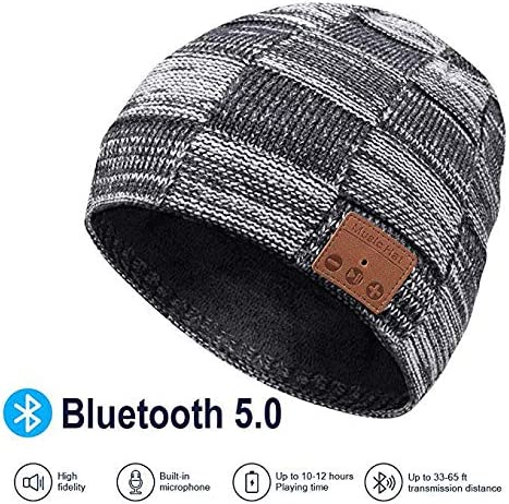 Bluetooth Beanie hat,Soft Warm Music Hat with Detachable Stereo Speakers Microphone, Unisex Music Beanie for Outdoor Sports,Christmas Electronic Gifts for Men Women