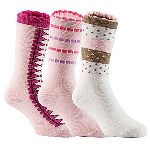 Lian LifeStyle Baby Girl's 3-Pairs-Pack Knee High Cotton Non-Skid Socks 6M-3Y One Size