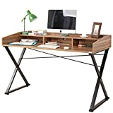 Dland Home Office Computer Desk 55'' Triangular Fixed X-Type Frame Modern Multi-functional Storage Luxury Workstation Writing Laptop Table, Teak
