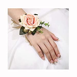 Campsis Wedding Wrist Corsage Bridal Champagne Wrist Flower Bride Hand Flower Decor for Bridesmaid Prom Party Homecoming 2 Pcs