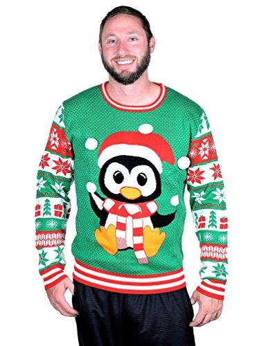 RWB Unisex Penguin with Pom-Pom Ugly Christmas Sweater (Penguin Ugly Sweater)
